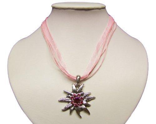 Trachtenkette mit Edelweiss Anhänger in Vielen Farben. Halskette für Dirndl und Lederhose