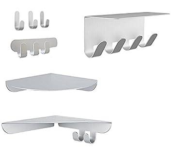 7 piezas aluminio Ganchos & estantes Set perchero Plata sin ...