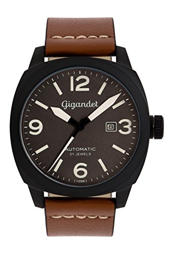 Gigandet Men's Automatic Aviator Watch Red Baron II Analog Stainless Steel Leather Grey Black G9-005