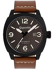 Gigandet RED BARON II Herren Automatik Fliegeruhr - Armbanduhr mit analoger Anzeige - 100m/10atm wasserdicht mit Datumsanzeige, braunem Lederarmband und grauem Zifferblatt - G9-005