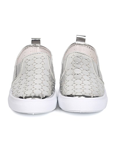 Qupid Ff97 Donna In Similpelle Metallizzata Punta Rotonda Perforata Slip On Sneaker - Argento