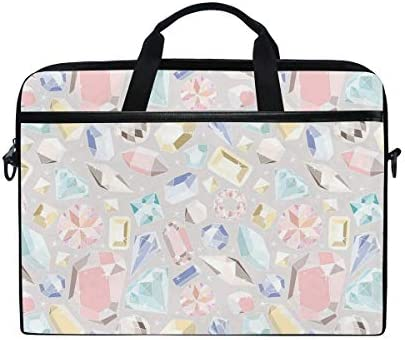 LOSNINA Laptop Tasche 15-15.4 Zoll,Bunte Diamanten Edelsteinfiguren Rich Feminine Women Fashion Style Theme Digital Print,Neue Drucken Muster Aktentasche Schulter Messenger Handtasche Case Sleeve