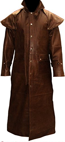 Mens Real Brown Leather DUSTER RIDING HUNTING STEAMPUNK VAN HELSING TRENCH COAT (T7-BRW) (W50