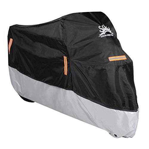 (Color Rain Time Motorcycle Cover UV Dust Waterproof Outdoor Protection, Fits up to 104 Inches Scooter Like Suzuki Honda Yamaha with Lockholes(Black+Silver,XXXL))