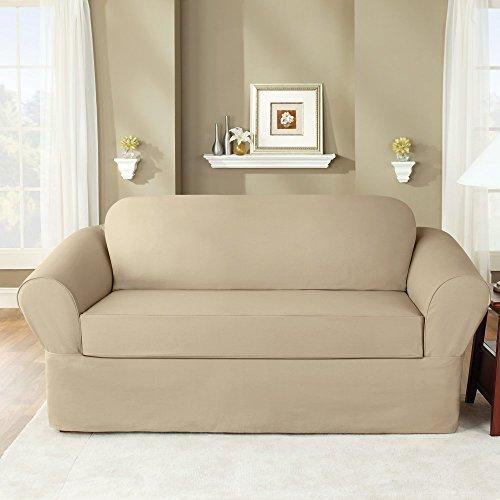 Sure Fit Twill Supreme Two Piece Sofa Slipcover