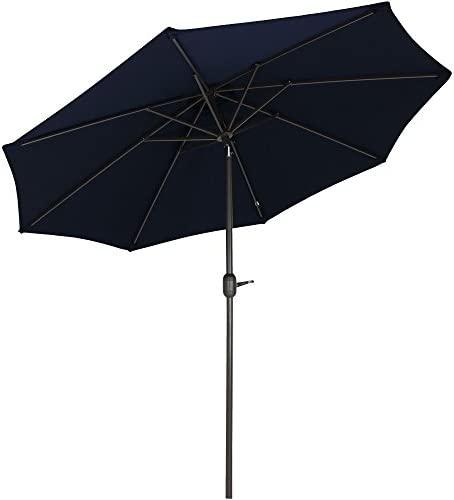 Sunnydaze Sunbrella Patio Umbrella with Auto Tilt and Crank, 9 Foot Outdoor Market Umbrella, Rust Resistant Aluminum, Sunbrella Navy Blue