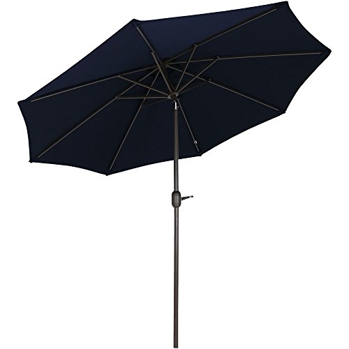 Sunnydaze Sunbrella Patio Umbrella with Auto Tilt and Crank, 9 Foot Outdoor Market Umbrella, Rust Resistant Aluminum, Sunbrella Navy - Acrylic Solution Dyed 100%