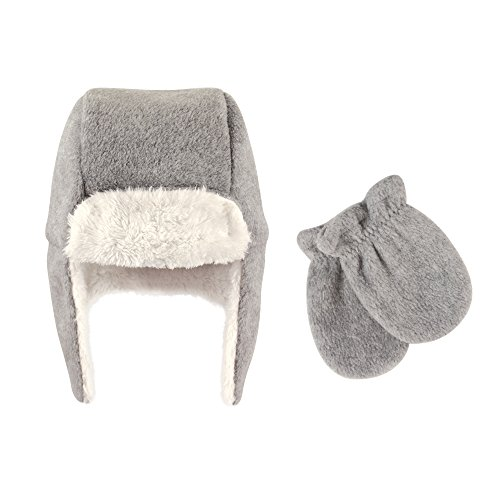Hudson Baby  Fleece Trapper Hat and Mitten Set Accessory, heather gray, 0-6 (Infant Hat Mittens)