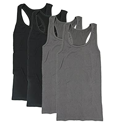 Semath Women's Soft Long Tank Tops Solid Color Stretchy Layering Camisole (1-6Pk)