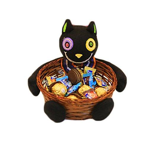 Powerfulline Halloween Candy Holder Pumpkin Ghost Doll Bamboo Basket Party Decoration Bowl (Black Cat) -