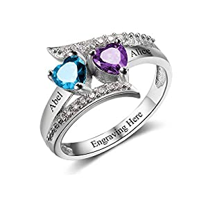Promise Rings Personalized Sterling Silver Mothers Rings with 2 Simulated Birthstones Womens Meaningful Engagement Rings…