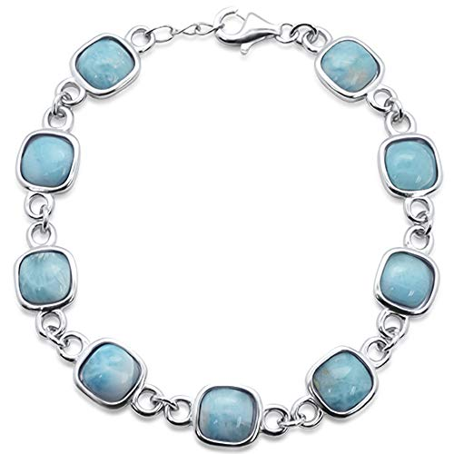 Oxford Diamond Co Sterling Silver Cushion Cut Natural Larimar Bracelet 7.5