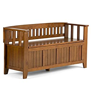 Simpli Home Acadian Solid Wood Entryway Bench, Light Avalon Solid Wood Brown