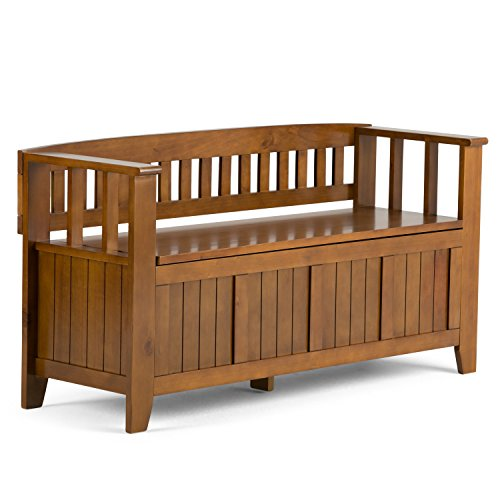 Simpli Home INT-AXCACA-EB-ALB Acadian Solid Wood 48 inch wide Rustic Entryway Storage Bench in Light Avalon Brown (Wood Bench Small Storage)