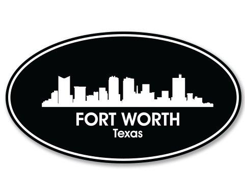 Fort Worth Texas Oval Vinyl Sticker - Car Phone Helmet - SELECT - St Worth Fort