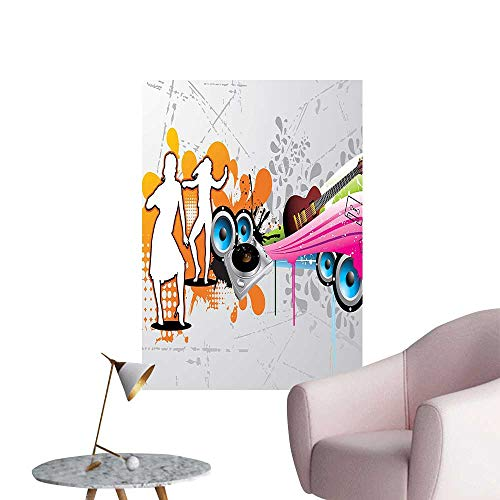 Wall Decals Turntable and Speakers Dancing Urban Nights Guitar Print Multicolor Environmental Protection Vinyl,20