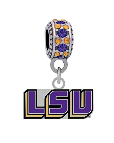 LSU Louisiana State University Charm Fits European Style Large Hole Bead Bracelets