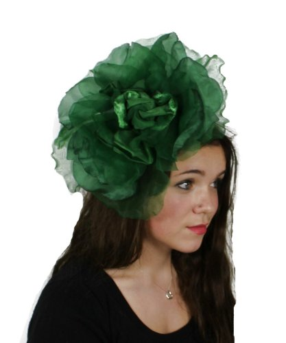 Hats By Cressida Dark Green Silk Flower Kentucky Derby Fascinator Hat With Headband by Hats By Cressida