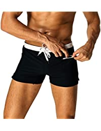 5b3a184522e Mens Swim Trunks Board Short Swimming Athletic Box Swimwear Briefs with  Zipper Pockets