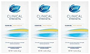 Secret Clinical Strength Clear Gel Women's Antiperspirant and Deodorant Stress Response, 1.6 Ounce (Pack of 3)