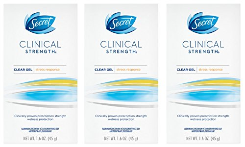 Secret Clinical Strength Deodorant and Antiperspirant for Women, Clear Gel, Stress Response, 1.6 Oz. (Pack of 3)