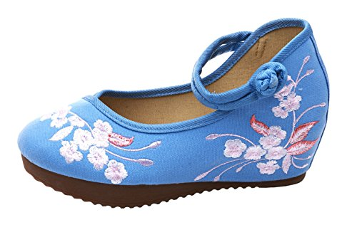 Wedge Compensé Fleur Femme Loafer Insun Main Bleu Mary Fait Broderie Espadrilles Janes O0T4q0H