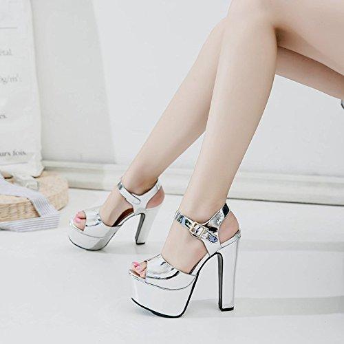 High tacon tacon Plateado Heel XiaoGao Sandals cm alto 15 de BAd6qxU