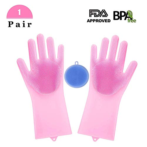 UOFEIVS Magic Silicone Dishwashing Gloves with Wash Scrubber, Resistant Gloves Kitchen Tool for Cleaning, Washing Dish, Kitchen, Bathroom The Carpet Hair Care (1 Pair Pink,With 1 Free Wash Brush)