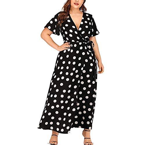 Women Dresses Plus Size Short Sleeve Wrap V Neck Belted High Slit Asymmetrical Summer Maxi Dress Black