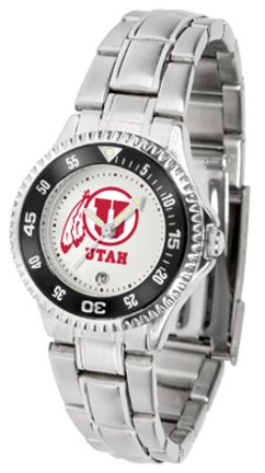 SunTime Utah Utes Competitor Ladies Watch with Steel Band
