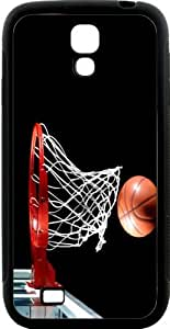 Basketball in hoop Hard Rubber TPU Case with Bumper Protection for Samsung Galaxy S4Black