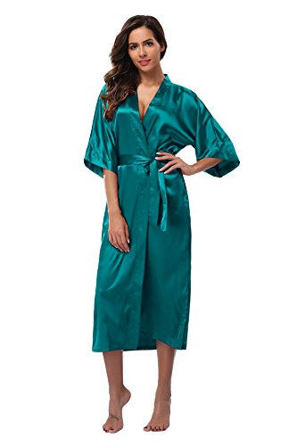 Vogue Bridal Womens Long Satin Kimono Robes Pure Color Silk Kimono Bathrobes with Oblique V-Neck for Wedding
