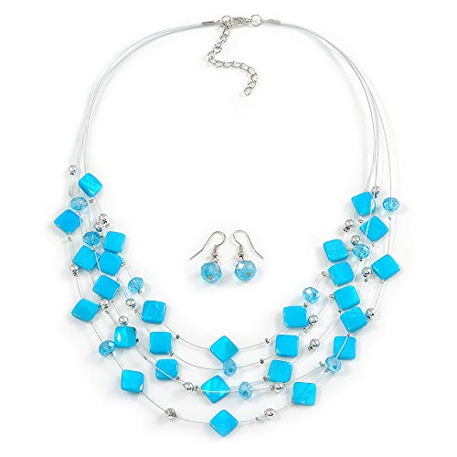 Avalaya Azure Blue Square Shell & Crystal Floating Bead Necklace & Drop Earring Set - 52cm Length/ 6cm extension ()