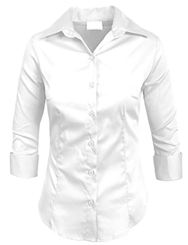 NE PEOPLE Roll Up 3/4 Sleeve Button Down Shirt with Stretch-WHITE-XS (Button People)