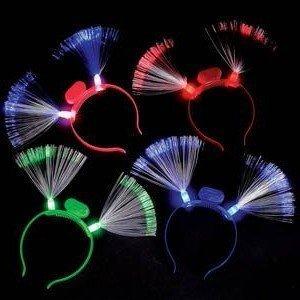 Fiber-optic LED Flashing Headband, 12 Headbands, Assorted Colors