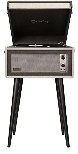 Crosley CR6233U-BK1 Dansette Sterling Portable Turntable with Aux-In, Grey