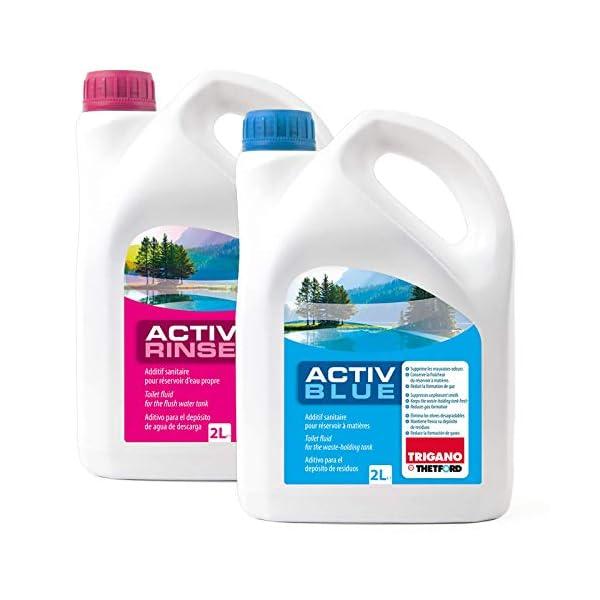 41vw3z0FgXL Set Thetford Activ Blue & Aktiv Rinse Toiletten Zusatz je 2 Liter, wahlweise mit Toilettenpapier (Blue + Rinse)