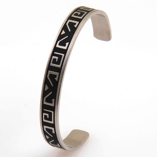 BUY 2 GET 1 FREE ON THIS STYLE: Men's Stainless Steel Silver Bangle Bracelet Cuff with Black or Silver Greek Key Pattern Engraved. Brushed Silver Finish. Trendy Man Christmas or Birthday Gift Idea at a Superb Price. One of Our Best Sellers for its Classic Styling as a Safe Present to Give Anyone.