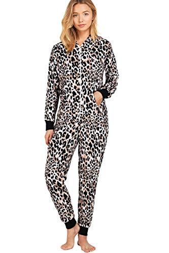 SofiePJ Women's Fleece Zip Up Onesie Pajamas Playsuit with Hoodie Black Brown M