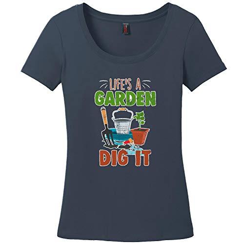 Navy Womens Perennial T-shirt - PRGMJA Life's a Garden Dig It Shirt Ladies Gardening T-Shirt Gardener Gift New Navy XL