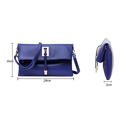 sacs Noir Femme d'embrayage épaule sac en à imitation bandoulière cuir abshoo Bleu main 4wgqzPP