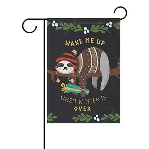 U LIFE Decorative Hello Welcome Winter Sloth Animal Garden Yard Flag Banner for Outside House Flower Pot Double Side Print 40 x 28 & 12 x 18 Inch Black