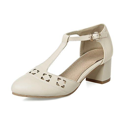 AmoonyFashion Womens Pointed-Toe Kitten-Heels Soft Material Solid Buckle Sandals Beige eOyrGjGIX