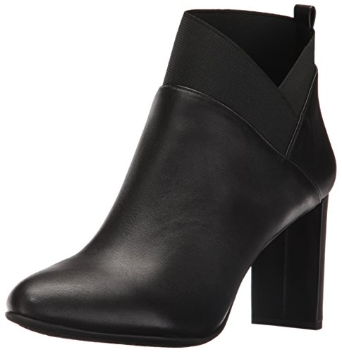 Nine West Women's Kalette Leather Ankle Bootie, Black, 6.5 M US