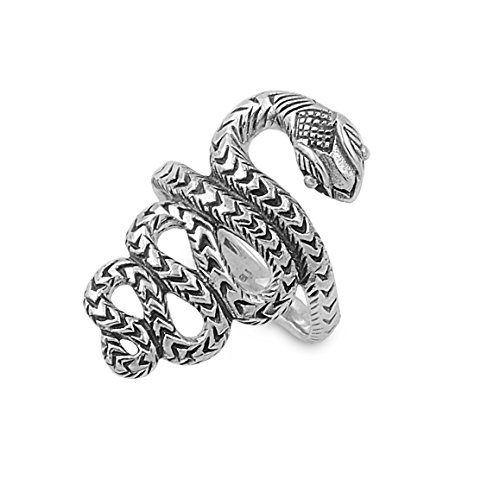 (Princess Kylie 925 Sterling Silver Coiled Snake Ring Size 5)