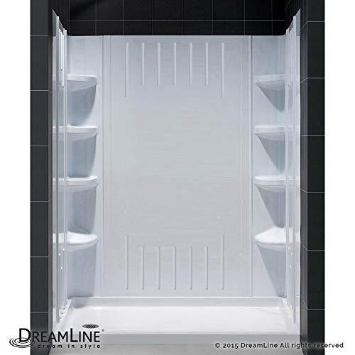 DreamLine DL-6148L-01 SlimLine 36-Inch by 60-Inch Single Threshold Shower Base Left Hand Drain and QWALL-3 Shower Back Walls - Seat Shower Base