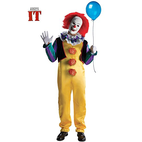 Deluxe Scary Costumes (Rubie's mens It The Movie Adult Pennywise Adult Deluxe Costume, Multicolor,)