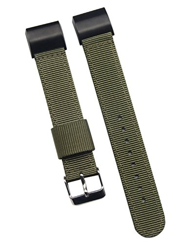 - 18mm Army Green Deluxe Premium Sturdy Exotic Nylon Men's Wrist Watch Band Wristband for Fitbit Charge 2
