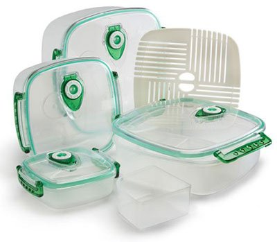 Amazoncom FreshVac Plus FV404TC Set of 4 Square Shaped Vacuum Food