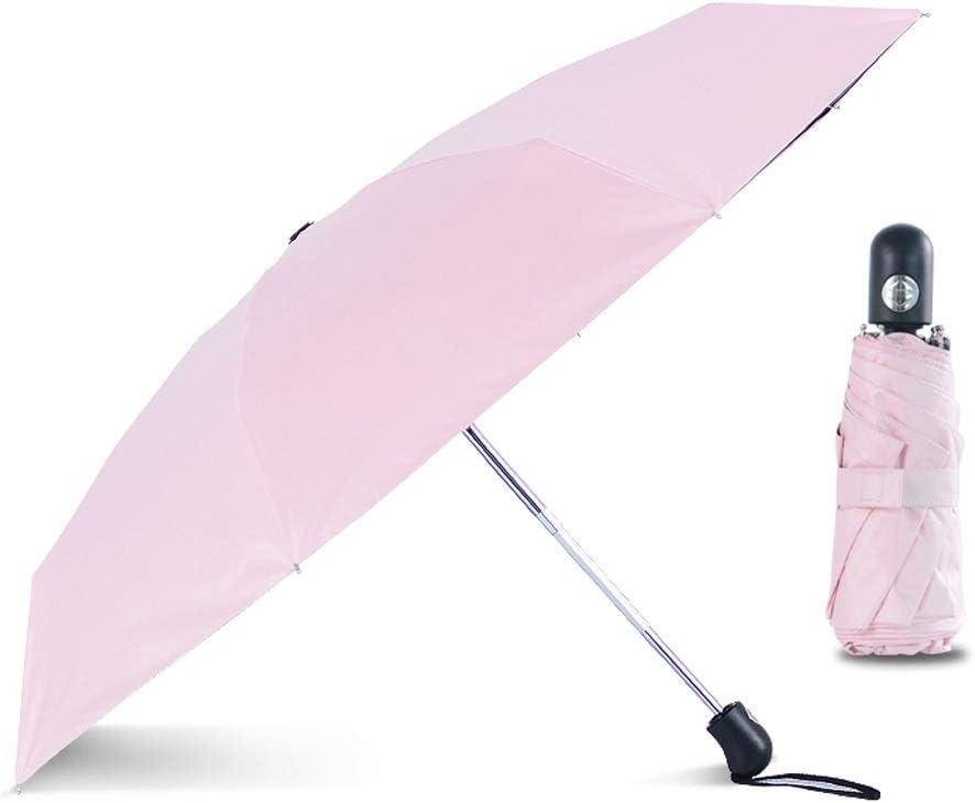 Mini Automatic 5Folding Umbrella Rain Women Wind Resistant Portable Car Outdoor Fashion Umbrellas Male Parasol Color : Pink